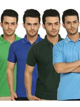 Lime Offers Combo of 4 Men's Polo T-Shirts, multicolor, l