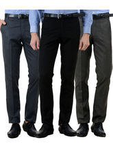American-Elm Men's Cotton Formal Trousers- Pack of 3, 30, multicolor