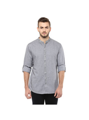 Solid Mandarin Collar Shirt, xl,  dark grey