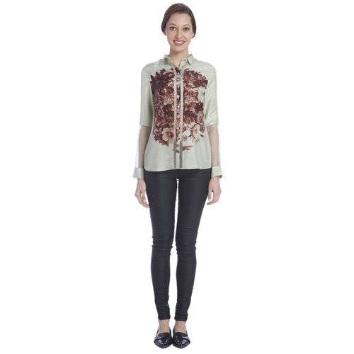 Sneha Arora Mint Diconnected Floral Print Shirt, s