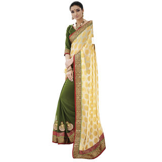 Indian Women By Bahubali Jacquard with Chiffon Saree, multicolor