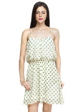 Oxolloxo Women's Printed Dress, off white, l
