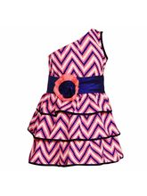 Lil Poppets One Shoulder Frill Dress with Flower Belt for Girls, pink, 7