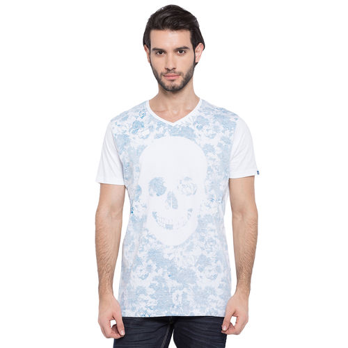 Printed V-Neck T-Shirt, xxl,  white