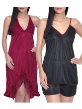 iHeart Women's Pack of 2 Satin Stylish Nighty, free size, multicolor