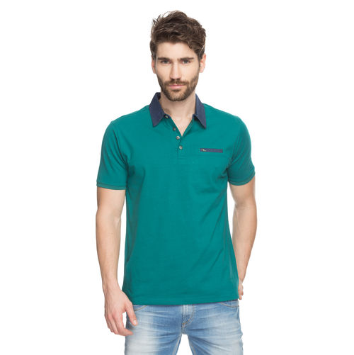 Solid Polo T-Shirt, m,  green