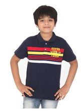 Rugby Boys 3 Colour Striper Two Button Polo T-Shirt With Embroidery, 3, navy