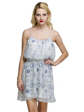 Oxolloxo Women's Printed Dress, off white, s