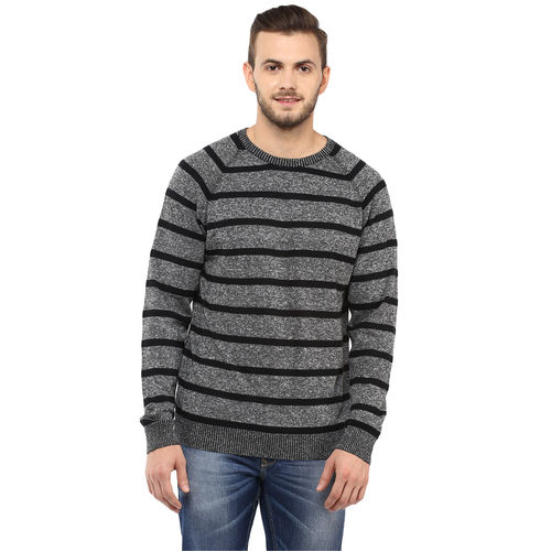 Striped Round-Neck T-Shirt, l,  black