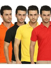Lime Offers Combo of 4 Men's Polo T-Shirts, xl, multicolor