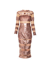 Rose Gold Sequined mid length dress with sheer panels, m