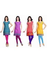 Trendbend Combo Of 4 Cotton Kurtis, l, multicolor