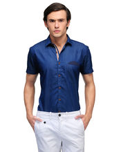 Edjoe Denim Men's Half Sleeve Shirts, royal blue, m