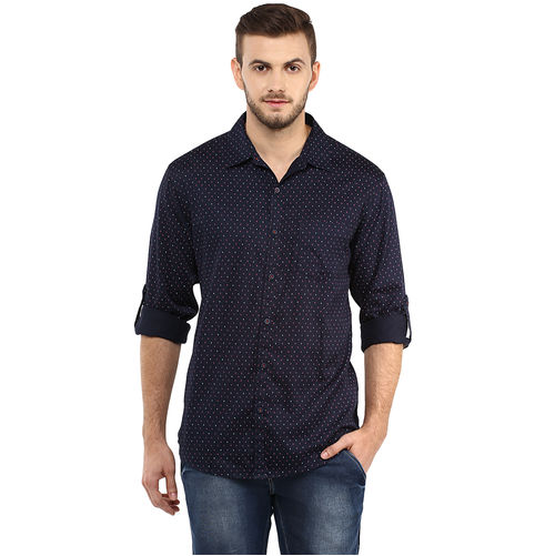 Printed Regular Slim Fit Shirt, l,  navy blue