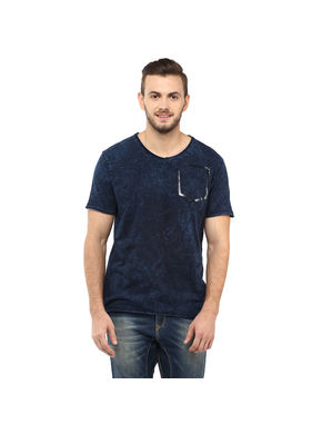 Printed V Neck T Shirt,  dark blue, xxl