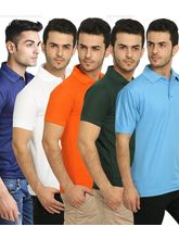 Lime Offers Combo of 5 Men's Polo T-Shirts, multicolor, m