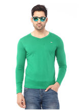 Rugby Single Jersey Half Sleeves V-Neck T-Shirt With Small Chest Embrodery On Wearer'S Left., classic green, l