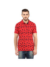 Printed Polo T Shirt, l, red