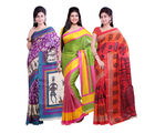 Ishin Combo of 3 Bhagalpuri Silk Multicolor Saree