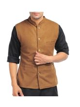 Sobre Estilo Woolen Premium Men Nehru Jacket - WV0011086, brown, l