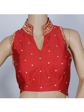 The Blouse Factory Stand Collar Delicate Machine Embroidery In Blood Bengal Silk Padded Blouse, 42, red