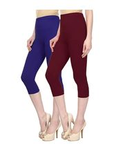 Civilized Showdown Cotton Lycra Capris-Pack Of 2, 28, blue