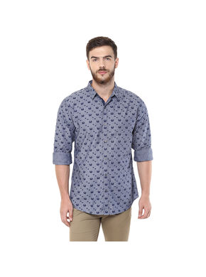 Printed Regular Slim Fit Shirt, xl,  grey