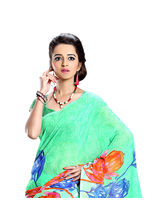 7 Colors Lifestyle Dani Georgette Printed Saree For Women, green