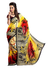 7 Colors Lifestyle Dani Georgette Printed Saree For Women, multicolor