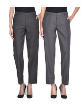 iHeart Women's Formal Office Trousers - Pack of 2, multicolor, 28