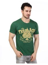 Rugby Men's Crew Neck Chest Print Half Sleeves T-Shirt, l, green
