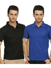 Lime Offers Combo of 2 Men's Polo T-Shirts BLK-BLU, multicolor, l