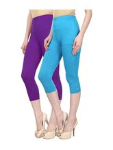 Civilized Showdown Cotton Lycra Capris-Pack Of 2, 28, purple