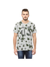 Printed Round Neck T-Shirt,M,Grey