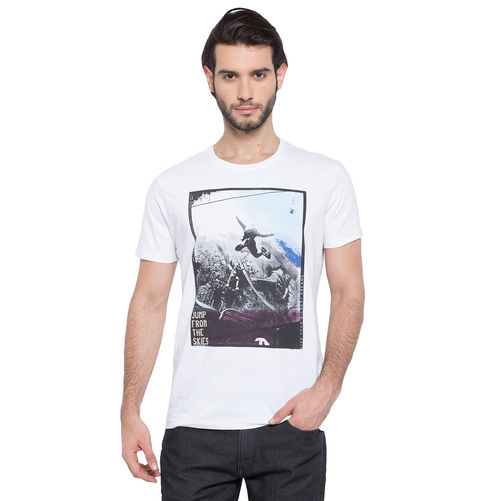 Spykar Printed Round Neck T-Shirt