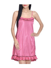 iHeart Women's Satin Stylish Nighty, free size, pink