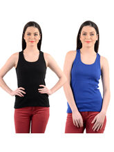 Mynte Women's Camisole Cross Strap (Pack of 2), blue and black, s