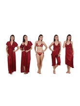 Freely Women's Satin 6Pc. Nighty Set, maroon, m