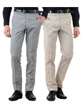 American-Elm Men's Cotton Formal Trousers- Pack of 2, 30, multicolor