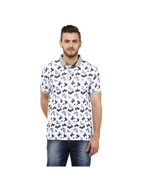 Printed Polo T Shirt,  white, s