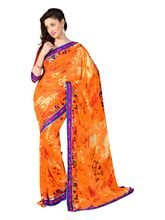 7 Colors Lifestyle Faux Georgette Floral Printed Saree - AAWSR549ASUHM, orange