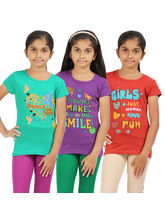 Rhamgold Combo of 3 pcs Printed Round Neck Girl's T-Shirt, multicolor, 15 16 y
