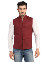 Phedarus Men's Band Collar Linen Half Jacket, maroon, l