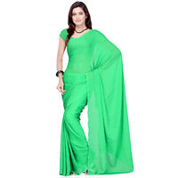 Vamika Faux Georgette Plain Saree with Unstitched Blouse,  green