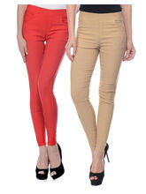 iHeart Women's Cotton Stretchable Jeggings - Pack of 2, 36, red and beige