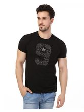Rugby Men's Half Sleeves Round Neck Chest Print T-Shirt., black, xl