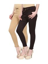 Civilized Showdown Lycra Jeggings-Pack Of 2, beige, 4xl