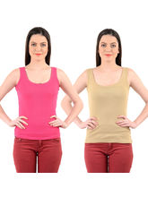 Mynte Women's Camisole Strap (Pack of 2), beige and pink, s