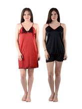 American -Elm Women's Stylish Sexy Nighty - Pack of 2, free size, multicolor
