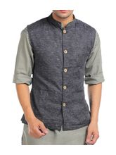 Sobre Estilo Linen Nehru Men Jacket - WV0013185, black, xl